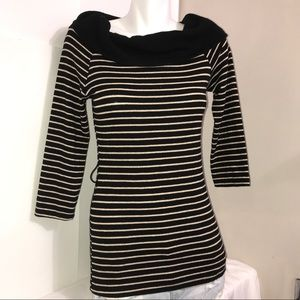Sirens Gold Striped Black Cowl Neck Knit Sweater